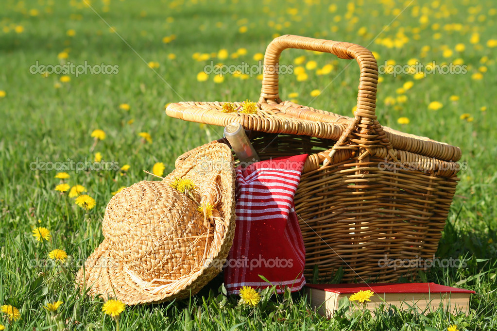 Basket and straw laying on the grass