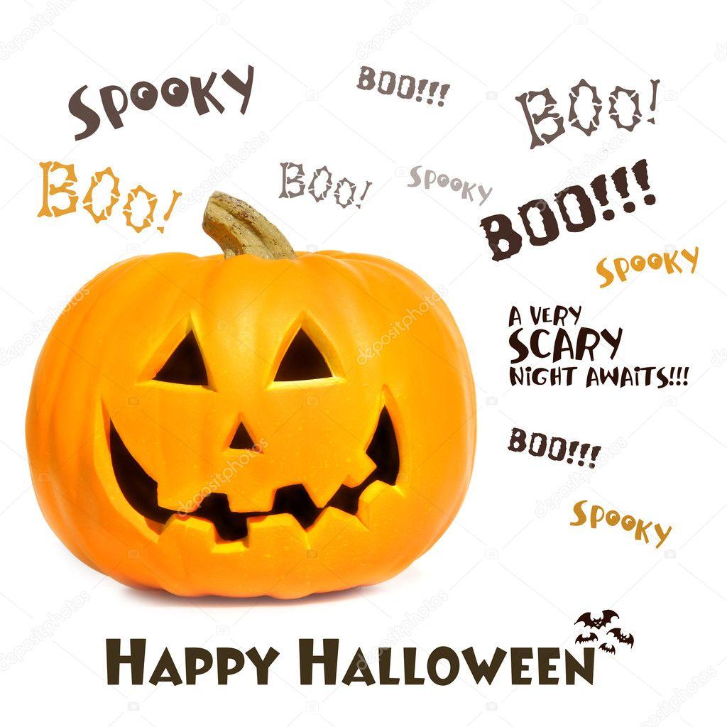 Pumpkin with halloween phrases on white — Stock Photo © Sandralise ...