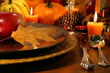 Detail place setting for aThanksgiving table