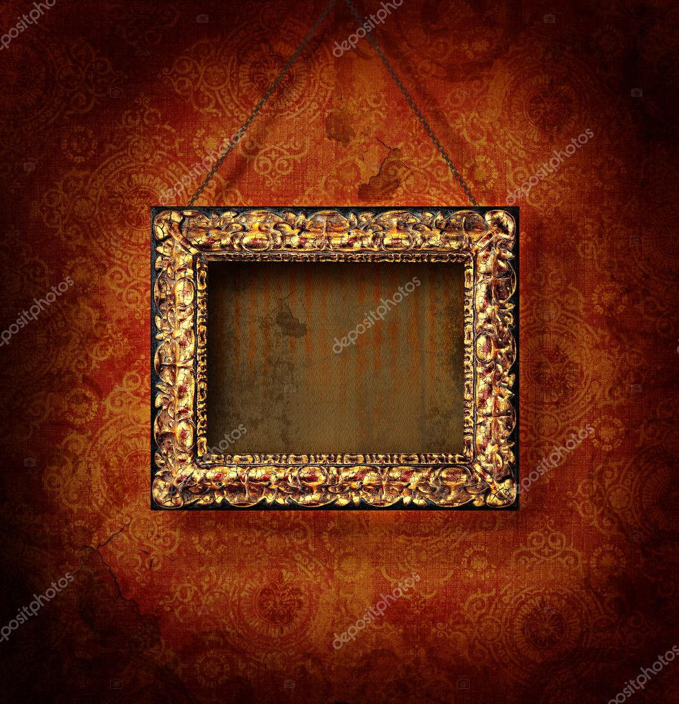 Goldene Bilderrahmen auf antiken Tapete — Stockfoto © Sandralise ...