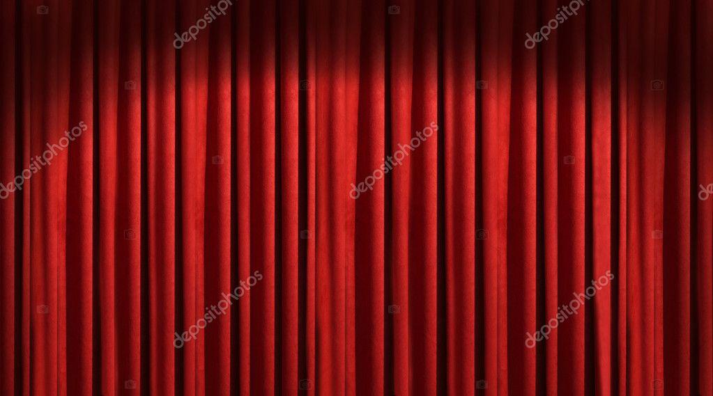 rode theater gordijn met tegenspeler in dark shadows — Stockfoto ...