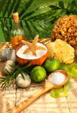 Sea salt, sponges, limes and spa essentials