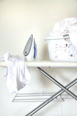 Still life of laundry on ironing board