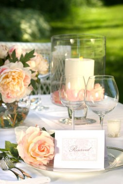 Place setting and card on a table