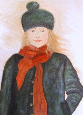 """Картина, постер, плакат, фотообои """"живопись маслом молодой девушки на холсте """", артикул 3521777"""