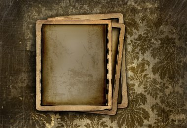 Vintage photo frame on floral background