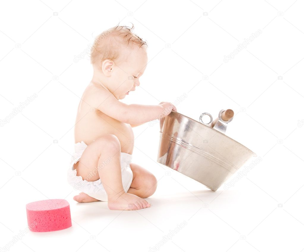 Baby boy with wash-tub — Stock Photo © Syda_Productions #3450682