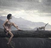 Junge Frau und Katze