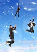 Podnikatel v létání mýdlové bubliny