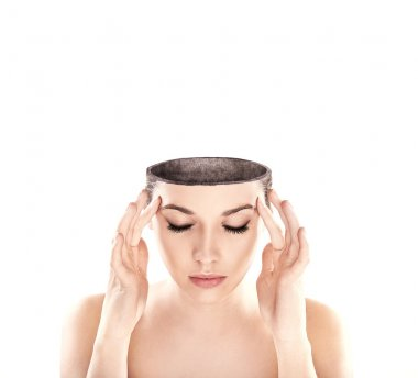 Conceptual image of a open minded woman , lots of copy space