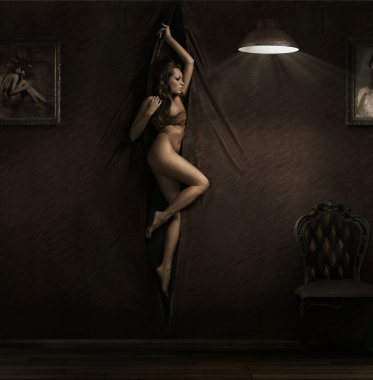 Fine art photo of woman on the wall