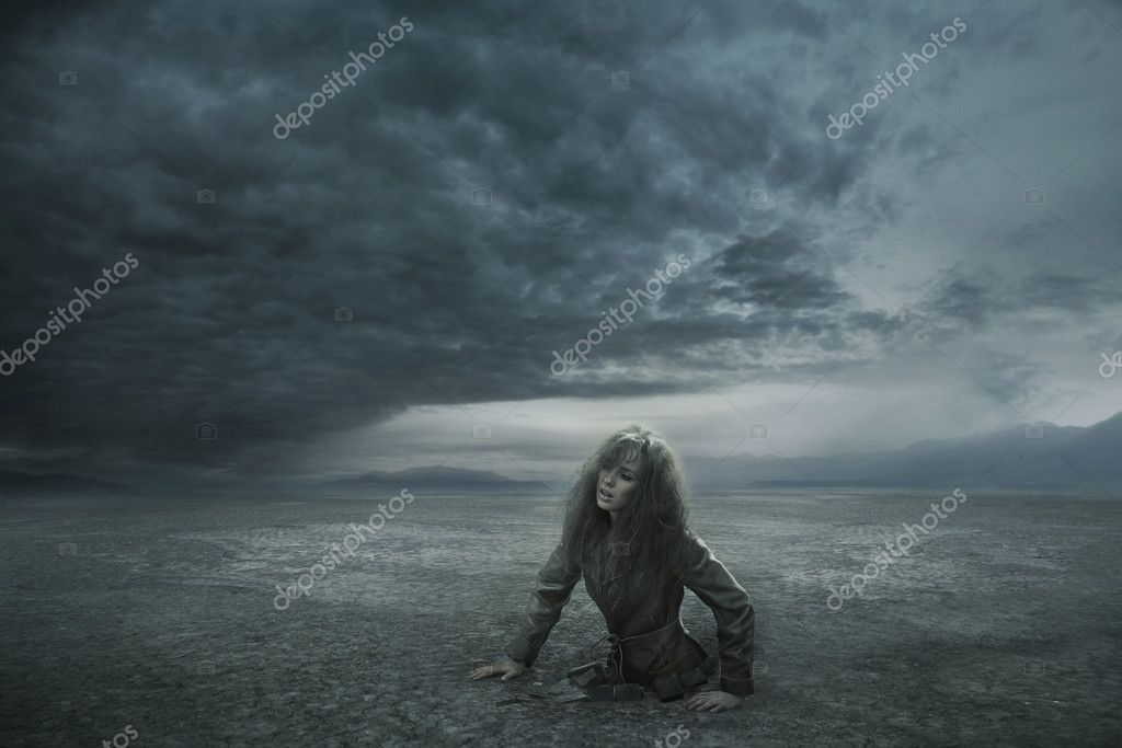 Lost woman in stormy day