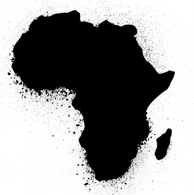 Grunge map of african ink vector illustration