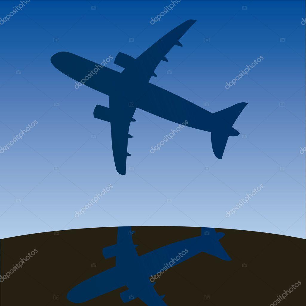 Airplane aero aviation silhouette. Vector cartoon illustration.