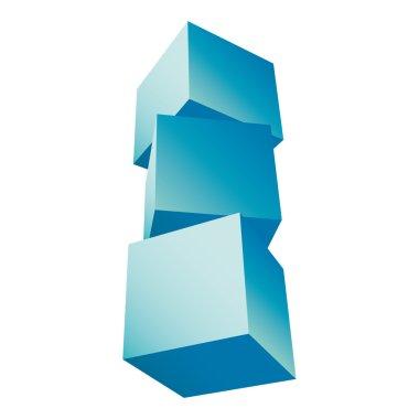 3d composition of cubes vector illustration