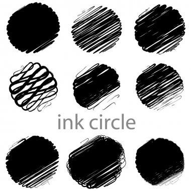 A set of grunge vector circle brush strokes