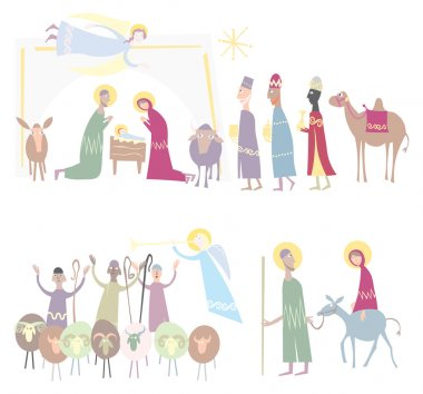 Nativity Holy night, bethlehem. Vector illustration