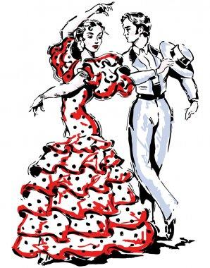 Typical spanish flamenco vector illustration