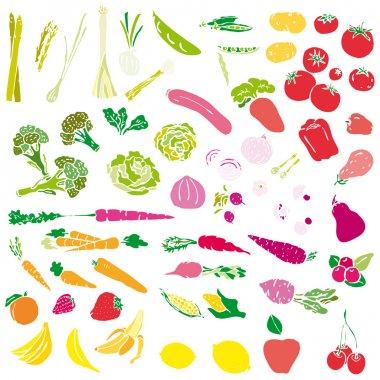 Vegetables and fruit vector illustration