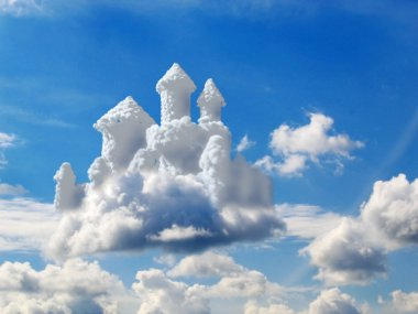 Fantasy castle in clouds stock vector
