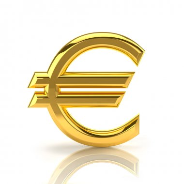 Golden euro sign on white