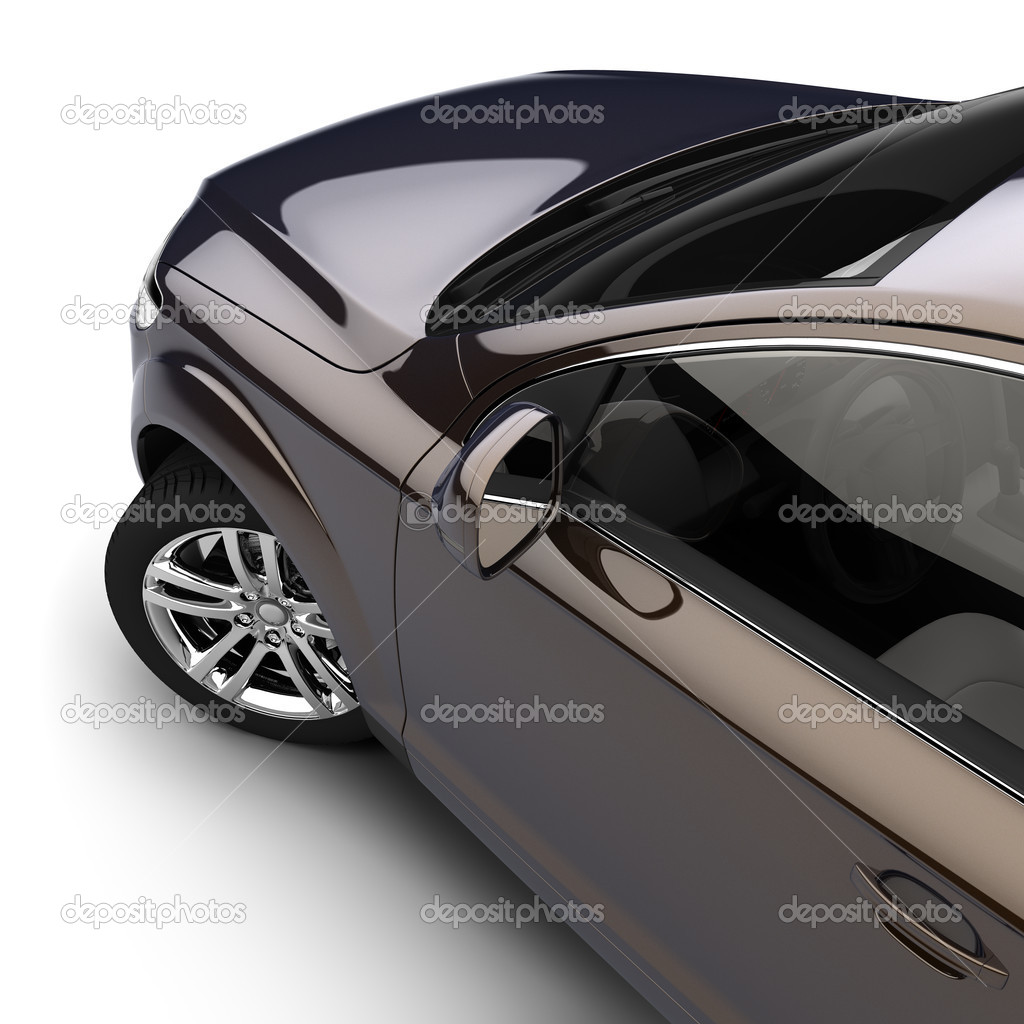 Car with a dark two-tone paint in the studio