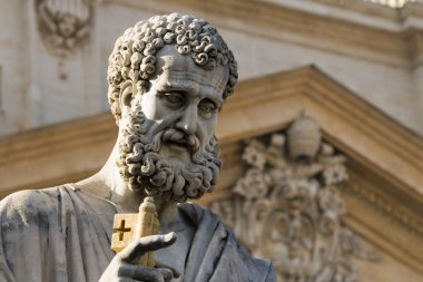 Sacred Peter's statue in Vatican. Detail