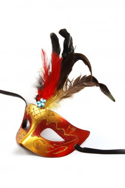 Red and Gold mask with feathers