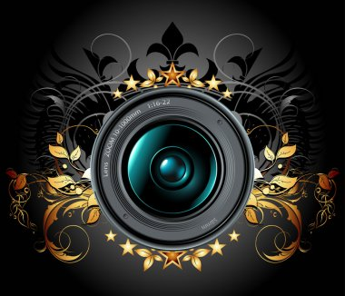 Camera photo lens with ornamental elements