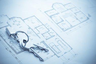 Blueprint hose plan with keys concept