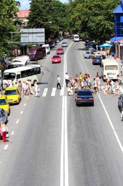 Pedestrian crossing in the street in suburb Sochi
