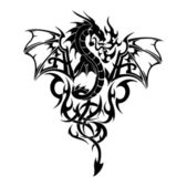 Fotografia tatuaggio volante vettoriale del drago nero