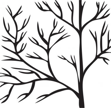 Tree black branch on white background.Vector