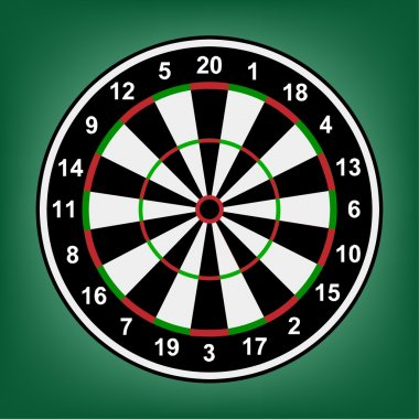 Red, white and black dartboard with accurate numbers on a green background.Vector clip art vector