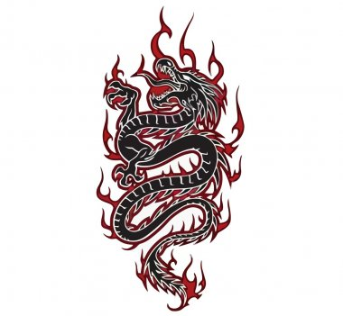 Fiery dragon tribal, vector