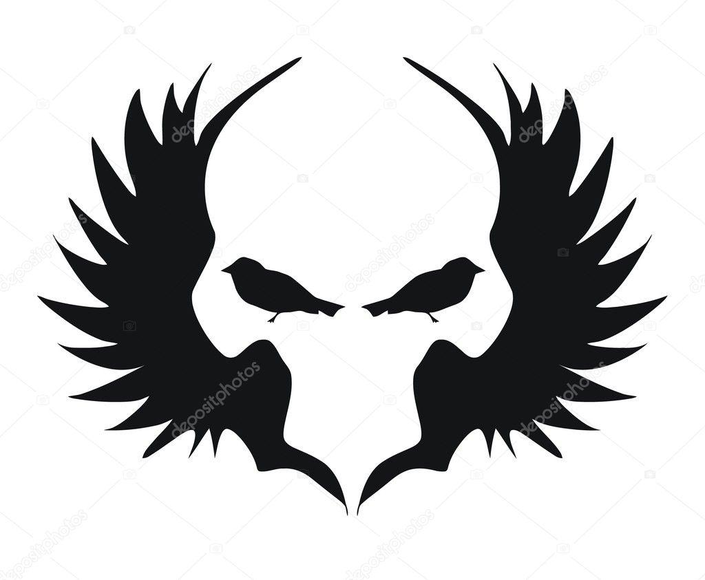 Tattoo wings. Vector