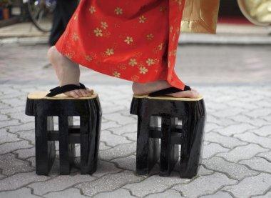 Woman in kimono and zori
