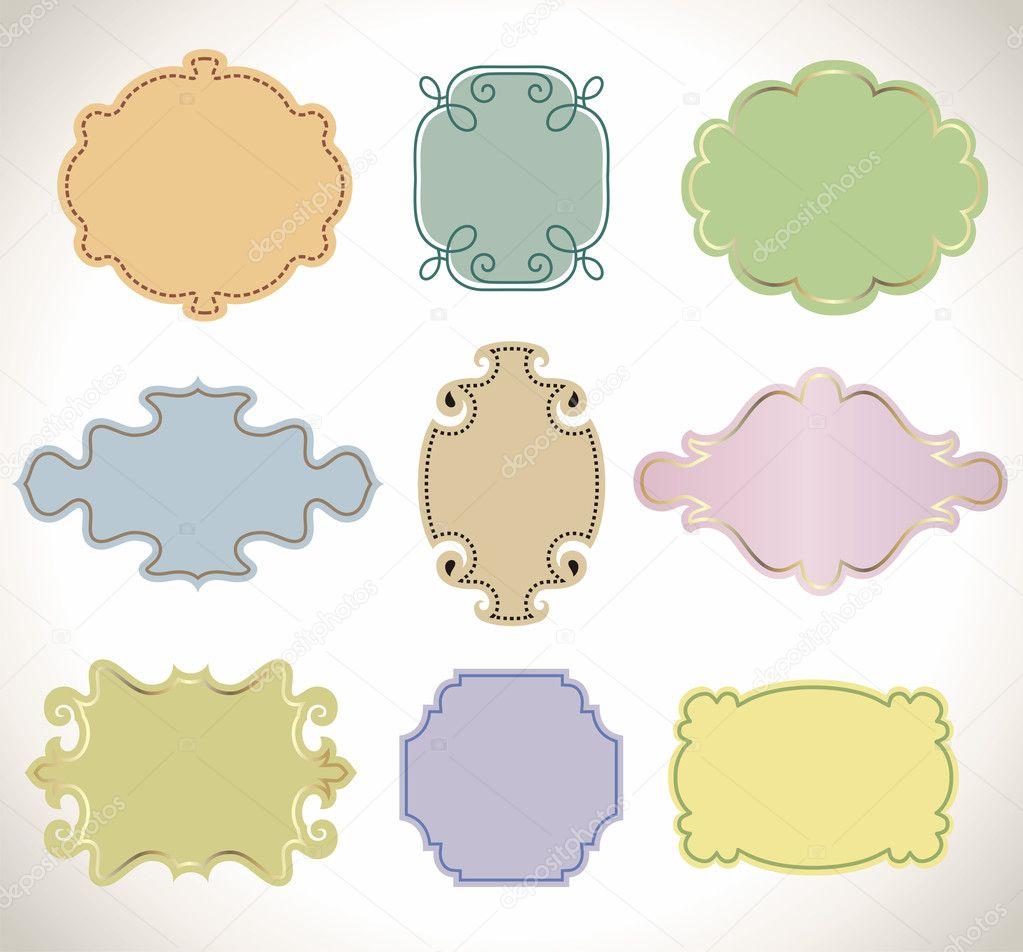 conjunto de marco vintage color — Vector de stock © nuraschka #3546472