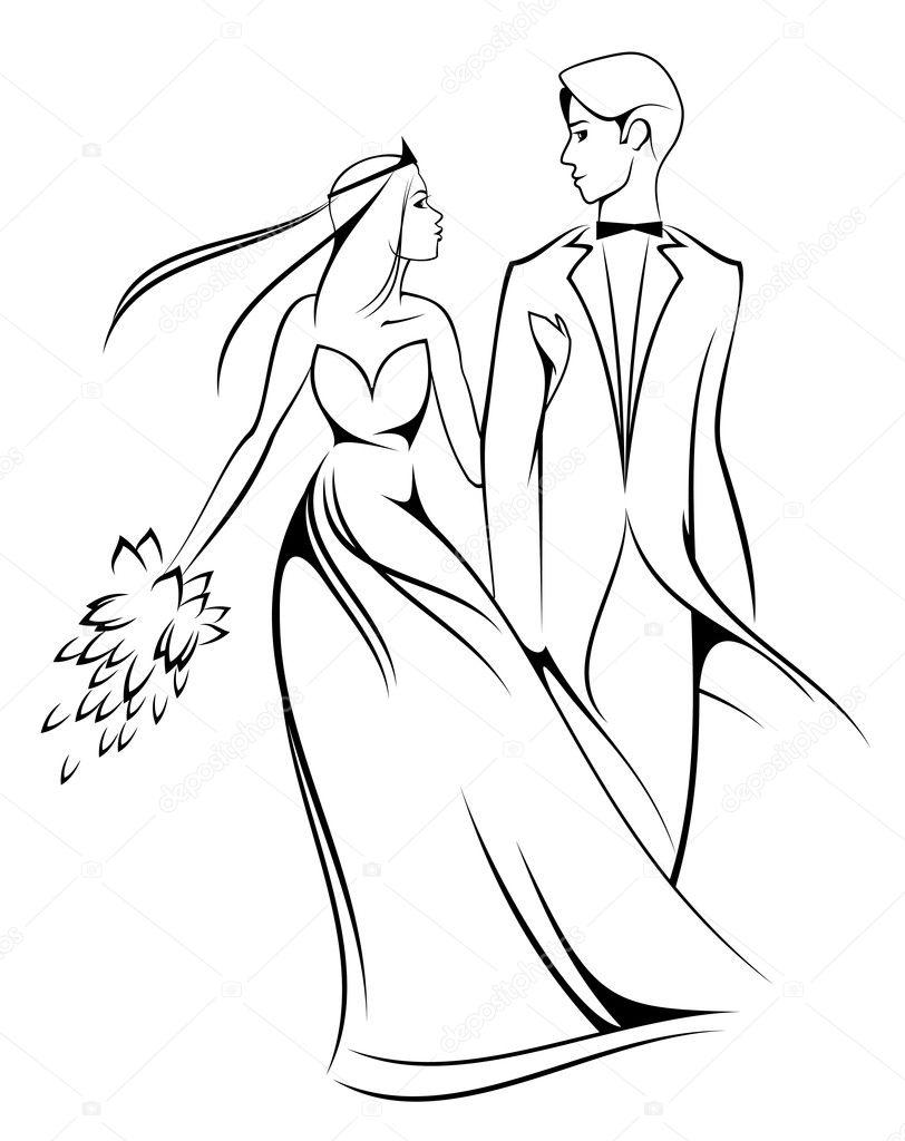 Line Drawing Wedding Couple : Bride and groom — stock vector seamartini