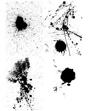 Set of vector ink blots for grunge design clip art vector
