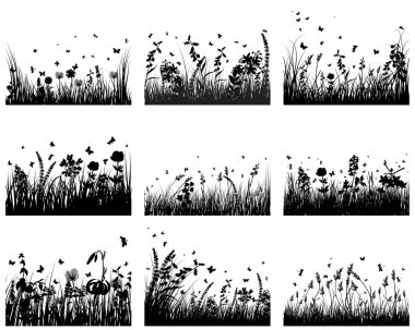 Vector grass silhouettes background. All objects are separated. stock vector