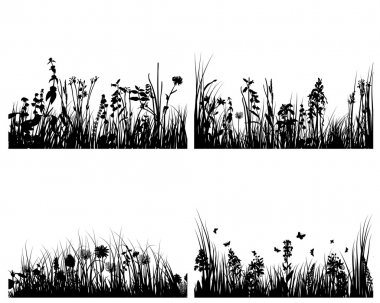 Grass silhouettes set