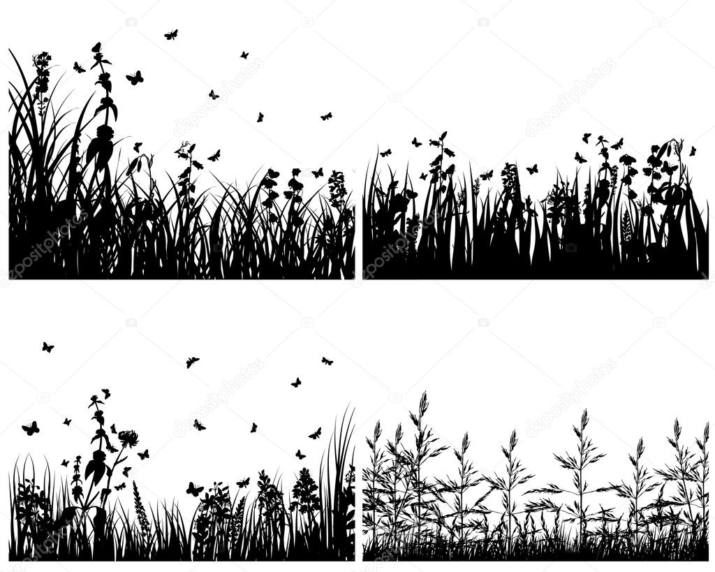 Grass silhouettes set