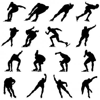 Skating man silhouette set for design use stock vector