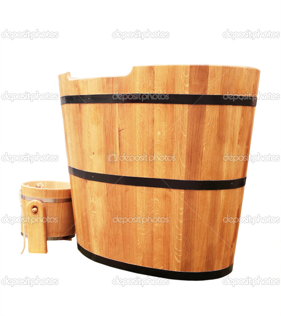 vasca da bagno in legno — Foto Stock © mallivan #3883966