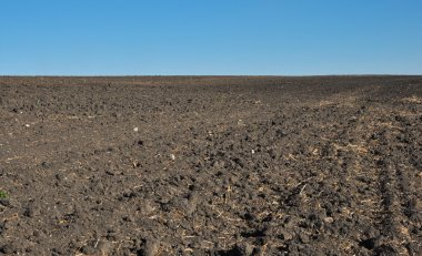 Fertile, plowed soil of an agricultural field