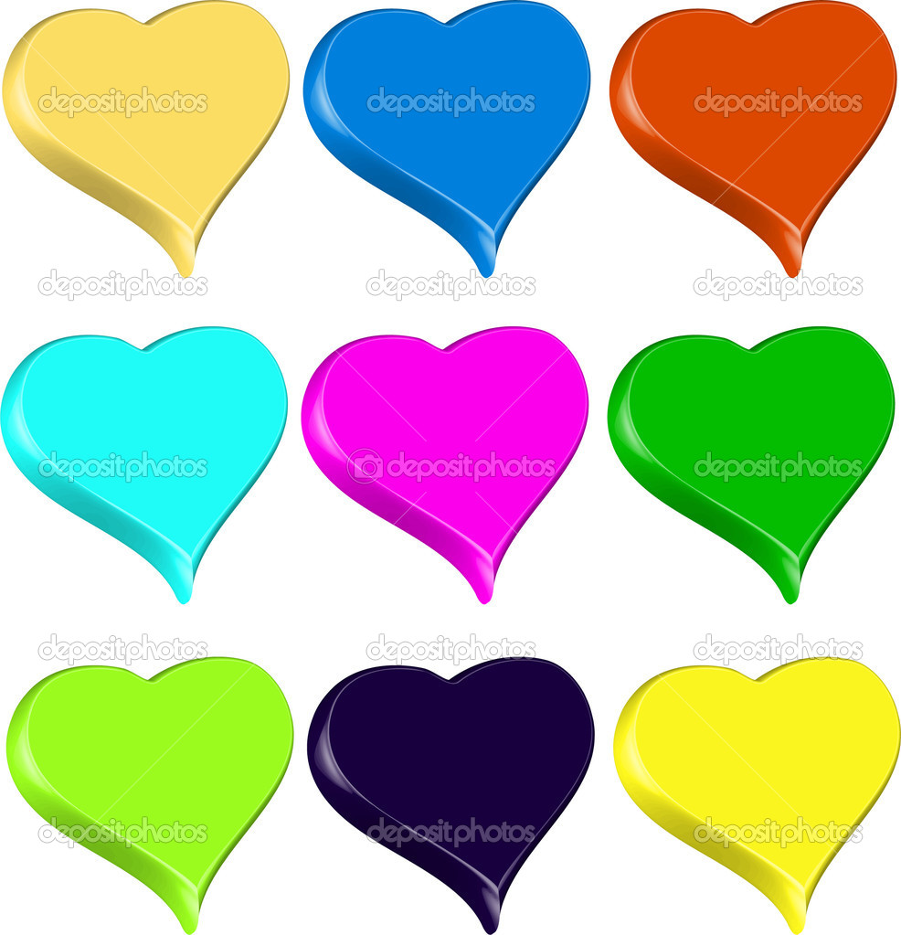 Set of 9 3D vibrant colorful hearts isolated illustration vector