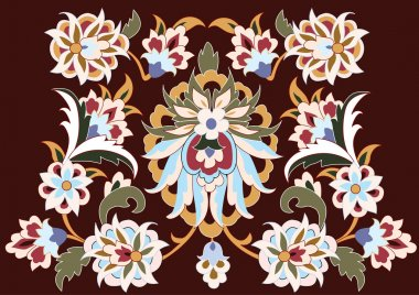 Traditional antique ottoman turkish tile vector design