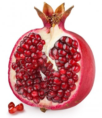 Half of pomegranate on a white background