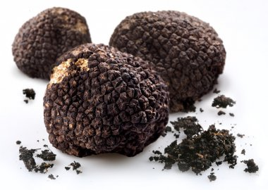 Black truffles with the pieces of soil on a white background